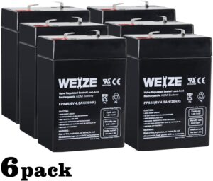 Weize 6V 4.5AH Sealed Lead Acid Rechargeable Battery