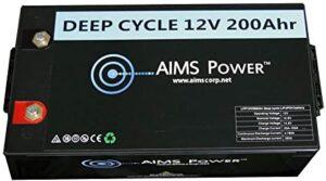 AIMS Power LFP12V200A Black 12V Lithium Battery 200Ah
